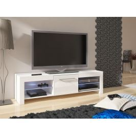 TV stolek FLEX, bílá/bílý lesk