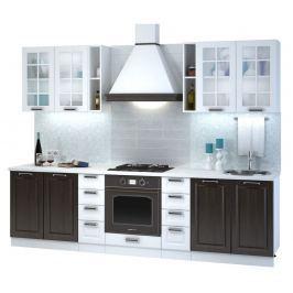 Kuchyně PRAGA 190/280 cm, wenge/bílý lesk