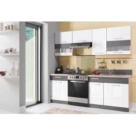 Kuchyně MODENA 160/220 cm, bílý lesk/grafit mat