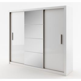Šatní skříň IDEA 250 cm bílá se zrcadlem