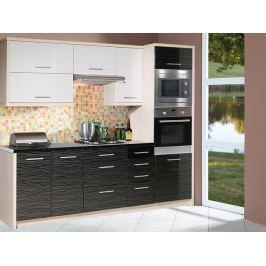 Kuchyně PLATINUM 240 cm, korpus jersey, dvířka white + black