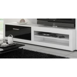 VIKY, televizní stolek 04, bílá/černý lesk