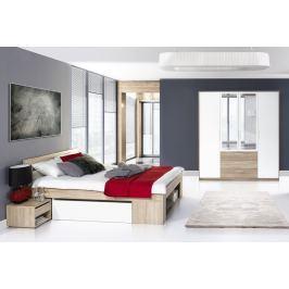 Ložnice MILO, dub sonoma/bílá (postel 140+noční stolky+skříň)