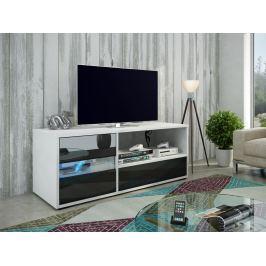 GLOBAL 1 televizní stolek, bílá/černý lesk