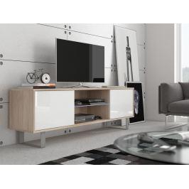 KING 2 TV stolek, dub sonoma/bílý lesk