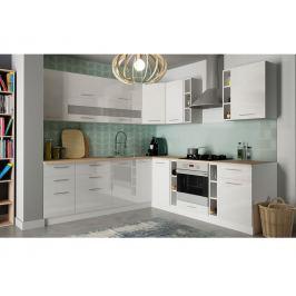 Rohová kuchyně TIFFANY 425/365 cm, bílý lesk
