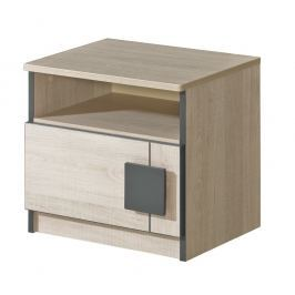 GIMMI, noční stolek G12, dub santana/hnědá