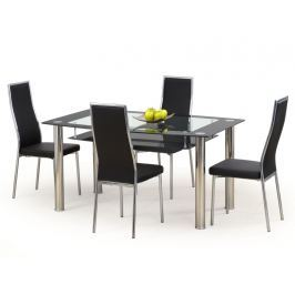 Jídelní stůl CRISTAL černý, kov/sklo