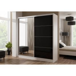 Šatní skříň s posuvnými dveřmi WIKA 203, bílá/černé sklo