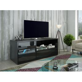 GLOBAL 1 televizní stolek, černá/černý lesk