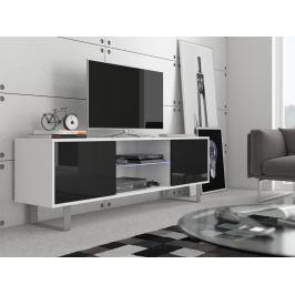 KING 2 TV stolek, bílá/černý lesk