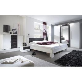 VERA ložnice s postelí 160x200, bílá/ořech černý
