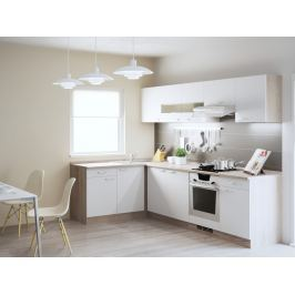 Rohová kuchyně BARA 150x270 cm, korpus dub bardolino/dvířka bílý lesk