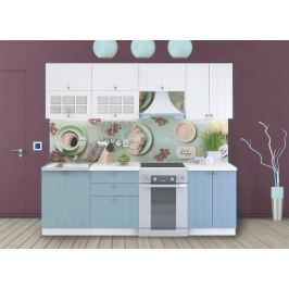 Kuchyně PROVENCE 180/240 cm, bílá/světle modrá