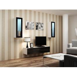 Obývací stěna VIGO 8, bílá/černý lesk