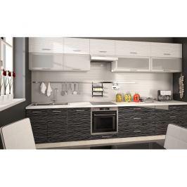 Kuchyně PLATINUM 360 cm, korpus jersey, dvířka black stripes+white stripes