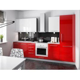 Kuchyně PLATINUM 290/170 cm, VZOROVÁ SESTAVA, rose red+white