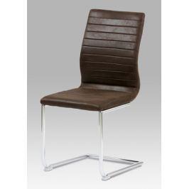 Jídelní židle chrom / látka tmavě hnědá, HC-038-1 BR3