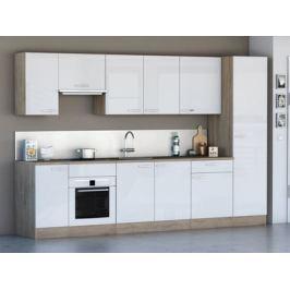 Kuchyně CHANTILY 310 cm, VZOROVÁ SESTAVA, bílý lesk