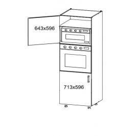 HAMPER vysoká skříň DPS60/207, korpus šedá grenola, dvířka dub sanremo světlý