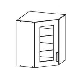 TAPO PLUS horní skříňka GNWU vitrína - rohová, korpus šedá grenola, dvířka bílý lesk