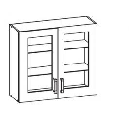 TAPO PLUS horní skříňka G80/72 vitrína, korpus šedá grenola, dvířka bílý lesk