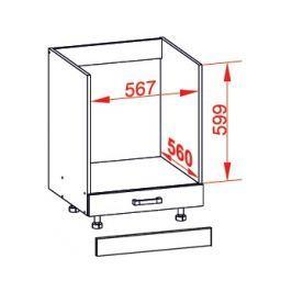 TAPO PLUS dolní skříňka DP60, korpus šedá grenola, dvířka grafit lesk