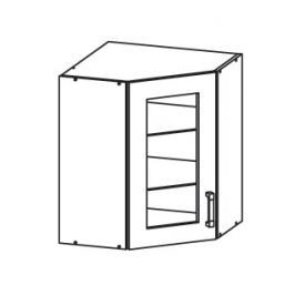 PESEN 2 horní skříňka GNWU vitrína - rohová, korpus bílá alpská, dvířka dub sonoma hnědý