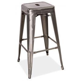 Barová kovová židle LONG, ocel kartáčovaná