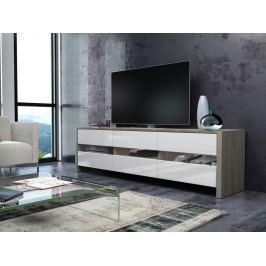 FOX televizní stolek, dub sonoma/bílý lesk