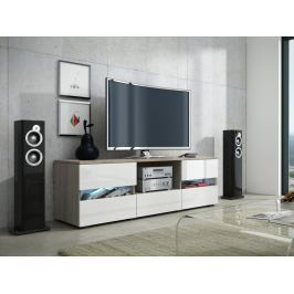 GLOBAL 2 televizní stolek, dub sonoma/bílý lesk