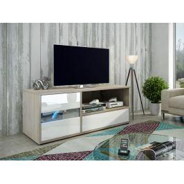 GLOBAL 1 televizní stolek, dub sonoma/bílý lesk