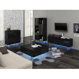 KING obývací pokoj - sestava 1, černá/černý lesk