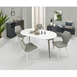 Jídelní stůl rozkládací CRISPIN, 160/200x90 cm, bílá/šedá