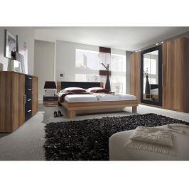 VERA ložnice s postelí 160x200, červený ořech/černá
