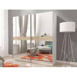 Skříň MIKA V se zrcadlem 150 cm, bílá/dub sonoma
