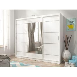 Skříň WIKI ALU se zrcadlem 250 cm, bílá