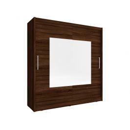 Skříň WIKI IX se zrcadlem 200 cm, dub sonoma čokoládový