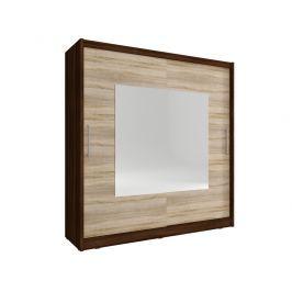 Skříň WIKI IX se zrcadlem 200 cm, dub sonoma čokoládový/dub sonoma