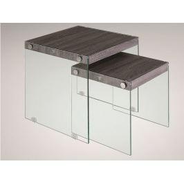 MOHAN set 2 konferenčních stolků, sklo/vzor dřeva