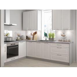 Rohová kuchyně EMPORIUM 180/395 cm, korpus grey, dvířka white
