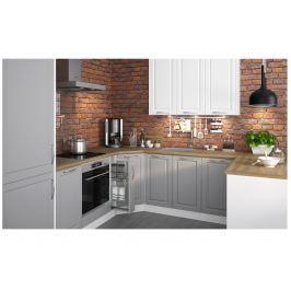 Rohová kuchyně EMPORIUM 120/475 cm, korpus bílý, dvířka grey stone + white