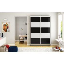 Šatní skříň MONTANA III, bílý mat/bílé sklo+černé sklo