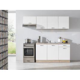 Kuchyně BARA 150/210 cm, korpus dub bardolino/dvířka bílý lesk