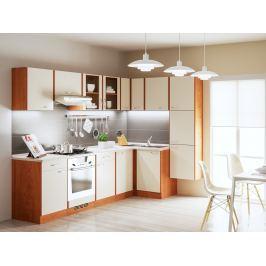 Rohová kuchyně MAJKA 260x160 cm, korpus olše americká/dvířka vanilka