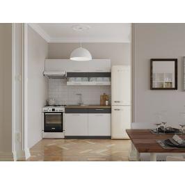 Kuchyně MODENA 120/180 cm, bílý lesk/grafit mat