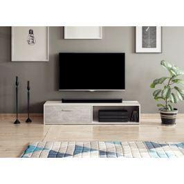 Televizní stolek SIMPLE, bílý mat/beton