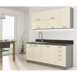 Kuchyně KARMEN 180, šedá/ krémový lesk