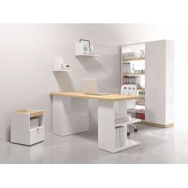 Kancelářská sestava DENTON typ 1, bílý lesk/dub polský