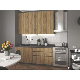 Kuchyně IDEA 180 cm, korpus: antracit, dvířka: dub wotan